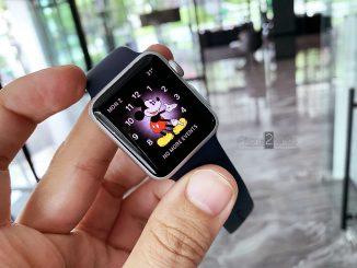 ขาย Apple Watch S1 สีเงิน 38mm สายยางน้ำเงิน มือสอง ราคาถูก